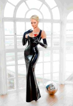 Latex dress and gloves