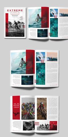 Magazine Templates for Adobe InDesign - Visual Arts & Identity Magazine Page Design, Magazine Page Layouts, Graphic Design Magazine, Editorial Design Magazine, Magazine Design Inspiration, Editorial Layout, Magazine Format, Layout Inspiration, Collage Magazine