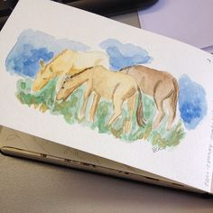 Vi uns cavalos e acho que um jumento  E fiz um desenho rpido  I saw some horses  Then I did a quick sketch dwgdaily