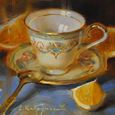 Gold-Rimmed Teacup by Elena Katsyura Oil ~ 6 x 6