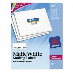 Avery 6871 White laser labels for color printing, 1-1/4 x 2-3/8 label, 450 labels/pack by Avery. Save 17 Off!. $13.23. Special coating provides vivid color and sharp text for brilliant, high-resolution color images. Ideal for mailings, messages, invitations and announcements.