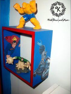 Batman Superman superhero cube shelf boys bedroom wall decor Superman Room, Superhero Room, Batman And Superman, Bedroom Themes, Bedroom Wall, Cube Shelves, Shelf, Boys Room Decor, Kids Room
