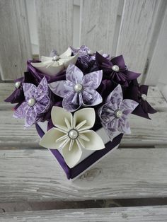 Items similar to Origami Paper Flower Centerpiece - Kusudama Purple on Etsy Origami Wedding, Origami Ball, Origami Love, Origami Fish, Origami Design, Origami Stars, Origami Flowers, Origami Paper, Wedding Paper