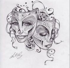 gemini happy and sad face tattoo - Google Search