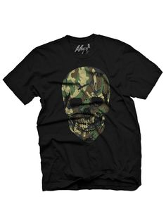 "Men's ""Camo Skull"" Tee by Fifty5 Clothing (Black)"