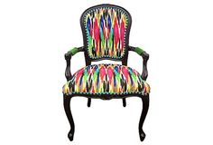 French Arm Chair Designer Ikat Upholstery Velvet Pink Blue Aqua Teal Yellow Black White Fabric Modern Chic