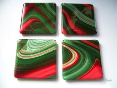 Fused Glass Christmas coasters made from Spectrum's Fuser's Reserve seasonal glass  |  Glitz & Grandeur