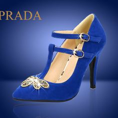 2014 Brand ankle buckle Rhinestone High-heeled shoes Women pointed high heels Women Pumps Blue Black  Party Shoes $36.90