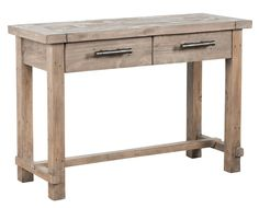 Classic Home Caleb 43-inch Console Table. $459. At 43-inches wide, this console table offers a great surface to display any objects you wish, plus it has two drawers to store those items you need close at hand, but out of sight. Reclaimed pine insures its durability, and the light Desert finish and darker Espresso finish are both beautiful and neutral enough for any decor.