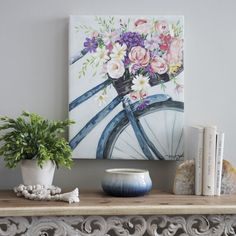 Product Details Floral Bicycle Canvas Art Print For a spring bouquet that never fades, turn to art! Just like a real bunch of flowers, it will brighten up any space. It's the perfect piece to start your spring gallery wall! Bicycle Painting, Bicycle Art, Bicycle Design, Farmhouse Paintings, Spring Painting, Painting Inspiration, Canvas Art Prints, Wall Art Decor, Watercolor Art