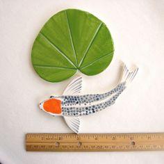 Ceramic Mosaic tiles Koi tile hand painted art by ArtTileMosaics