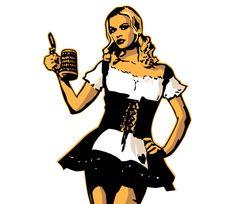 Camarera alemana de cerveza -  tradicional camarera alemana de cerveza, con su típico traje sexy.