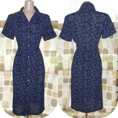 $89.99- Vintage 40s Midnight Blue Printed Rayon Day Dress LUCY  L/XL Plus Size 50s. $89.99, via Etsy.