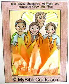 Quick and easy fiery furnace craft for kids made with orange and yellow tissue paper.