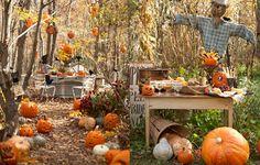 Un jardin sous le thème d'Halloween : corbeaux et épouvantails s'invitent aux tables ornées de citrouilles...