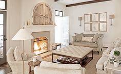 Rachel Halvorson Design - living rooms - living room wood beams, white fireplace mantle, reclaimed wood doors, hidden TV, concealed TV, fire...