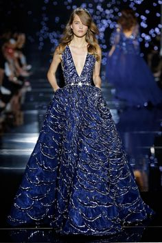 Zuhair Murad 2016 Haute Couture Collection - Midnight blue ball gown with plunging neckline and silver Milky Way ornamentation