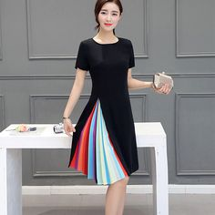 Aliexpress.com : Buy 2016 New Summer Women Dresses Fashion Korean Style Elegant A Line O Neck Rainbow Striped Patchwork Slim…
