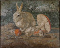 Tile mosaic with rabbit, lizard and mushroom, late 19th C. - early 20th C. /  The Metropolitan Museum of Art