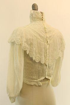 1900 Lace Blouse XXS / Edwardian Top / White door CrushVintage