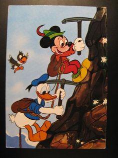 Vintage Old Walt Disney Postcard Mickey Mouse, Donald Duck eo...90 's !
