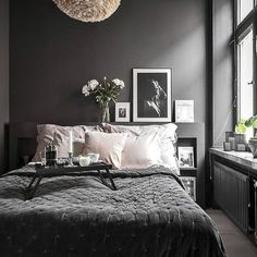 Dark Bedroom Ideas: Unique Decors with Captivating Atmos.- Dark Bedroom Ideas: Unique Decors with Captivating Atmosphere Source by - Dark Gray Bedroom, Grey Bedroom Decor, Small Room Bedroom, Small Rooms, Home Bedroom, Bedroom Ideas, Dark Bedrooms, Dark Grey Bedding, Bed Room