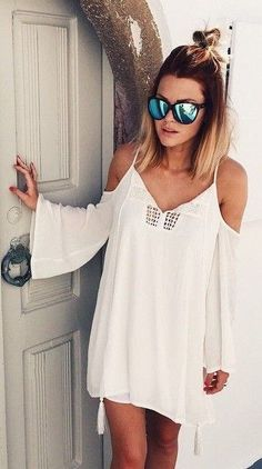 White Missguided Dress | Caroline Receveur