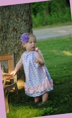 Baby Girls Lavender Chevron with Light Pink Trim Satin Pillowcase Dress Easter Spring Pastels Pillow Case Dress by BabyGirlTutus on Etsy