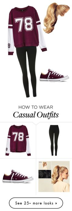 """""""Casual sweater"""" by zali-w-1 on Polyvore featuring Topshop, H&M, Converse and Hershesons"""