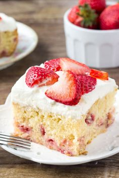 Homemade strawberry cake is super moist, with a delicious vanilla flavor and bursting with fresh berries. Then it's covered with a sweetened whipped cream topping and even more strawberries. If you love strawberry shortcake then this easy strawberry cake is definitely for you.