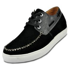 Black height increasing casual shoes for men to make you taller 6cm / 2.36inches