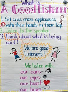 Good Listeners-great anchor chart to start the year with primary students.
