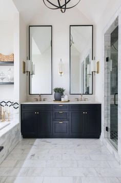Matte Black painted bathroom vanity via Timber Trails Development #CheapHomeDecorDesign