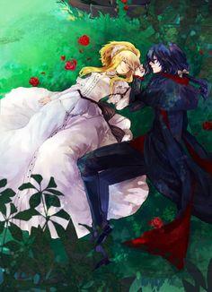 """Sleeping With The Beauty"" Fantasy Warrior, Fantasy Art, Manga Art, Manga Anime, Anime Egyptian, Hot Anime Couples, Animes On, Kawaii Cute, Comic"