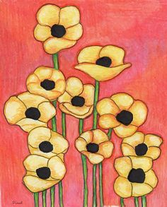 Poppies Floral Art Print 8 x 10 on Etsy, $24.95