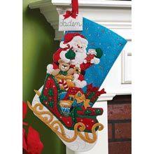 """Santa and His Sleigh"" | Stocking kit | Bucilla"