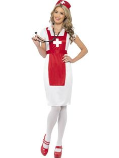 57ddef05db664 Smiffys A And E Nurse Costume Red & White Dress (Kids , Toys , Costumes)