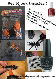 i love do it yourself: Special Halloween ! DIY des bijoux insectes / Halloween Special ! DIY Insects jewelry !