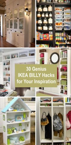 30 Genius IKEA BILLY Hacks for Your Inspiration Taking a piece of IKEA's simple product and making it more unique and custom with some DIY tricks to meet individual needs is an IKEA hacker's duty and dream. IKEA hacks are popular not only in the… Billy Regal Hack, Billy Ikea Hack, Ikea Billy Bookcase Hack, Billy Bookcases, Ikea Inspiration, Libreria Billy Ikea, Garage Storage Cabinets, Kitchen Pantry Cabinet Ikea, Kitchen Racks