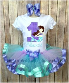 Mermaid Under the Sea Theme Lavender and Aqua Ribbon Trim Tutu Birthday Outfit