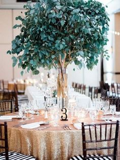 green and gold wedding reception decor via honey honey photography