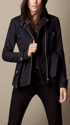 Burberry Cotton Twill Peplum Biker Jacket