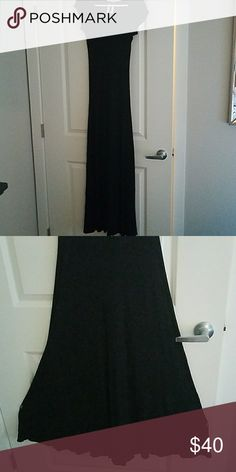 BCBG 1X1 Rib maxi dress Cap sleeve maxi dress im classic BCBG rib knit. 96% Viscose 4%Spandex.  V panel in back allows for bottom to have a nice flowy feeling while form fitted up top. Runs long. Great w Wedges or dress it up w scrappy heels. I'm 5'11 and can wear it w flats. Gently worn. BCBG Dresses Maxi