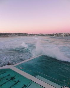 #ocean #bondi #beach #australia #sunset #pink #green #waves