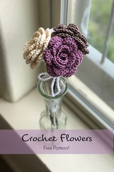 Crochet Flowers. Easy Free Pattern