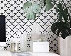 Minimalistic fish scales pattern, black and white wallpaper, removable, reusable, self-adhesive wall mural #76