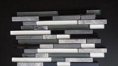 Backsplash linear black, gray and white glass Tile Kitchen Backsplash. (Z11)