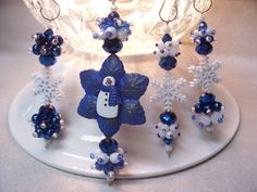 Christmas Snowflakes  4 pc by ChristmasDangles on Etsy