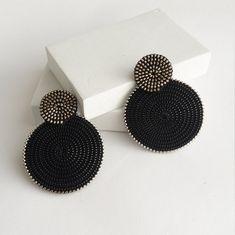 Circle Earrings Round Earrings Ethnic Earrings Disc Earrings Geometric Earrings Clip On Earrings Antique Jewellery Designs, Fancy Jewellery, Thread Jewellery, Stylish Jewelry, Fashion Jewelry, Circle Earrings, Round Earrings, Beaded Earrings, Beaded Jewelry