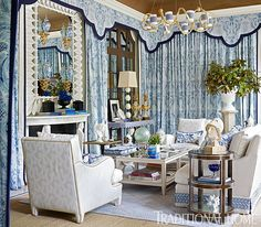 Using fabrics and furniture from his collection for Schumacher, Timothy Corrigan turned a cozy family room into a vision of blue and white. - Photo: Emily Jenkins Followill / Design: Timothy Corrigan